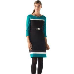 NWT WHBM COLORBLOCK PONTE BELTED SHEATH DRESS